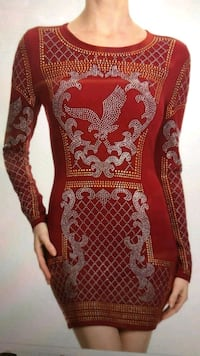 red and white floral long-sleeved dress 1201 mi