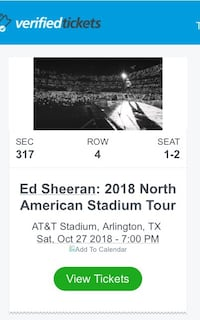 Ed Sheeran Tickets - great seats for 2 Pflugerville, 78660