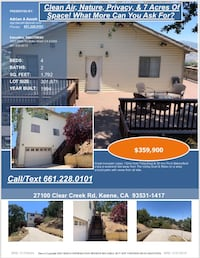 Clean Air, Nature, Privacy, & 7 Acres Of Space! What More Can You Ask For? Bakersfield
