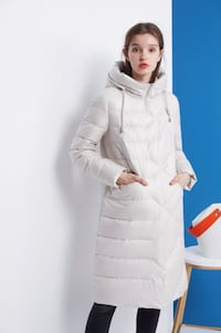 Dezoee Fashion: Cream Color Women Winter Down Coat TORONTO