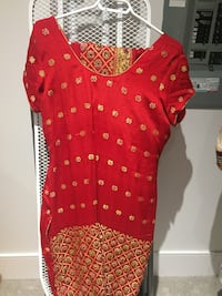 Red and gold-colored cap-sleeved scoop-neck dress