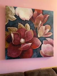 Blue Flower Wall Canvas Picture