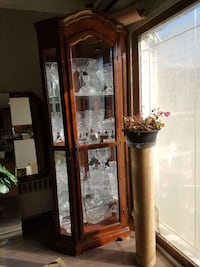 brown wooden framed clear glass curio cabinet New York, 11219
