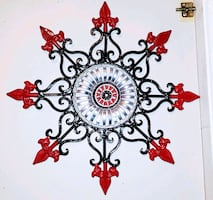 "19"" Metal wall hanging, pretty heavy, newly painted"