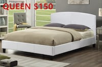 Brand new white queen faux leather platform bed frame warehouse sale  多伦多