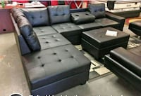 Brand New Black Sectional Sofa with Ottoman