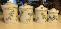 Four white-and-green floral ceramic canisters Hopkins, 55343