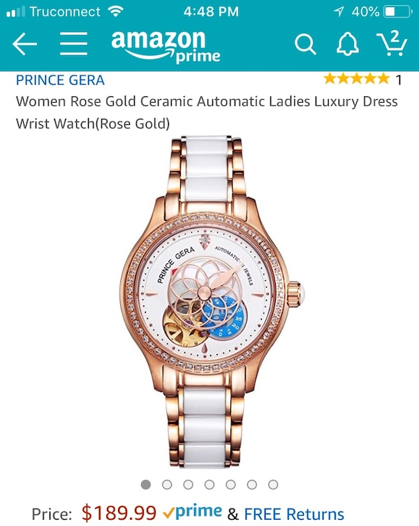round gold-colored chronograph watch with link bracelet screenshot