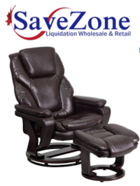 New-Contemporary Brown Leather Recliner and Ottoman with Swiveling Mahogany Wood Base Mississauga