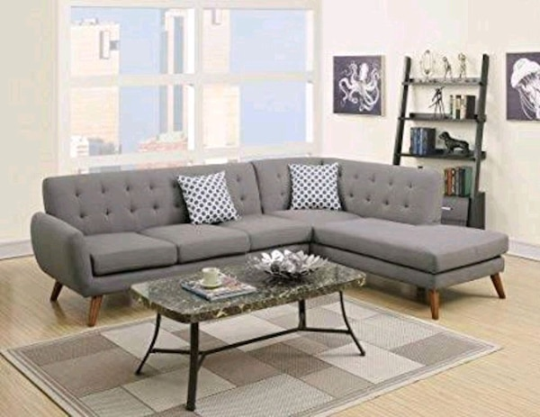 Gray mid-century modern sectional sofa