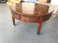 Solid Wood Round Table with Wheels and 4 drawers Chantilly, 20152
