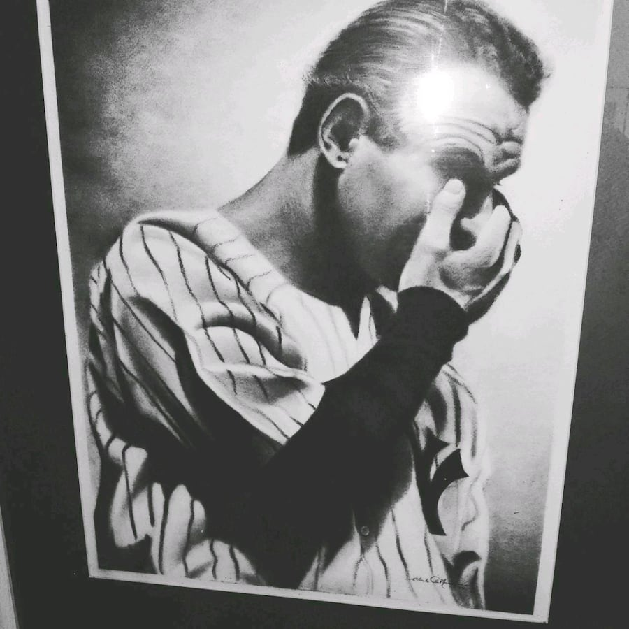 Lou Gehrig speech picture, done in ash pencil.  Local Baltimore artist