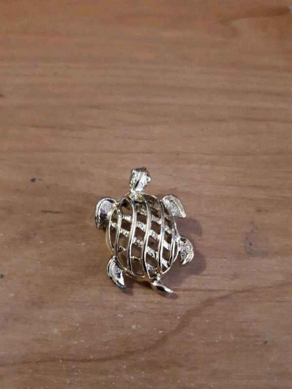 Brass turtle brooch