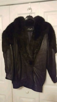 Ladies black leather and fur jacket