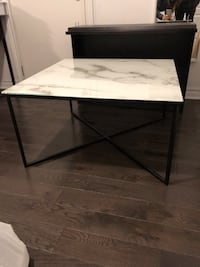 Marble print pattern glass coffee table