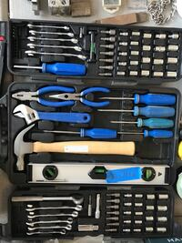 blue and black tool set