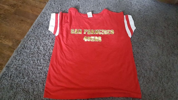 ab9384664 Used red and white San Francisco 49ers crew neck jersey shirt for sale in  Pataskala