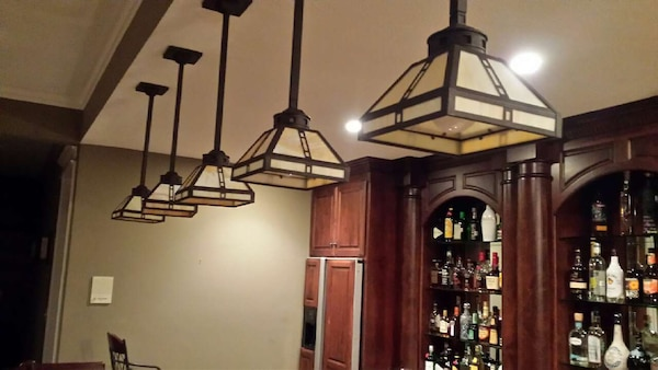 5 Stained Gl Bar Lights