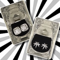 Rhodium plated hip hop branded earrings available  Winnipeg, R3L 2W3