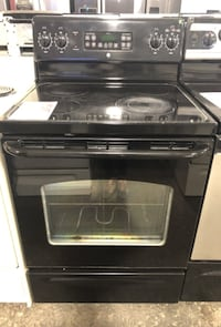 ❥GE glass too electric range. Used. Black. -