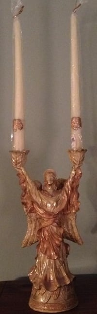 DECORATIVE ANGEL FIGURINE HOLDING 2 CANDLES (NEW CONDITION) London