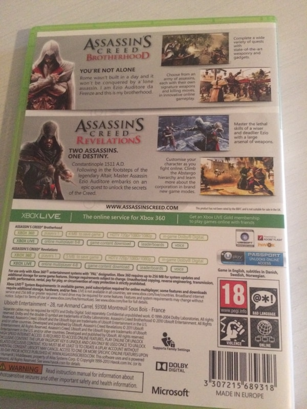 Xbox 360 games assassins creed brotherhood and revelations