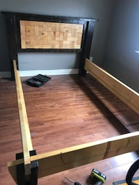 Hand made wood bed frame (fits double bed).  Toronto, M6N 3A9