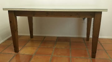 PIER 1 (5FT) Crackle Painted/Brown Stained Base Wood Dining Table with Glass Top