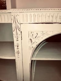 Antique white buffet server with carved wood details and leather top Kensington, 20895