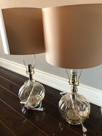 two stainless steel base white shade table lamps Toronto, M9W 6X1