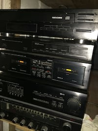 This is a vintage Yamaha stereo system .  Each piece is a separate unit itself but they all connect to make up the full system with the receiver, tuner, 5 disc changer, and the double cassette player.  There is no record player included as I never added o
