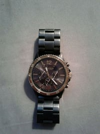 round black and gold chronograph watch with silver link bracelet Peterborough, K9H 3Y7