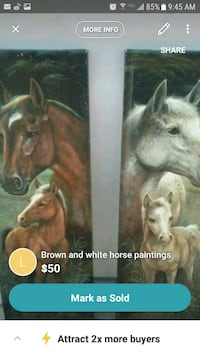 two brown and white horses paintings screenshot
