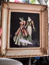 woman in white dress painting with brown wooden frame Lindenhurst, 11757