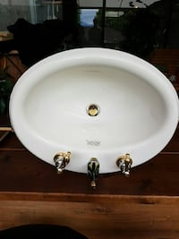 Brand new bone fiberglass vanity sink