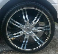 chrome 6-spoke car wheel with tire 26in Lugoff, 29078