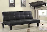 black leather tufted sofa with throw pillows Houston, 77057