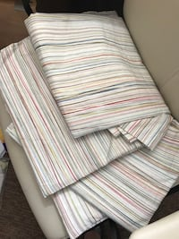 Pottery Barn pin-striped drapery panels or shower curtain