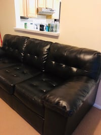 black leather 3-seat sofa Lanham, 20706