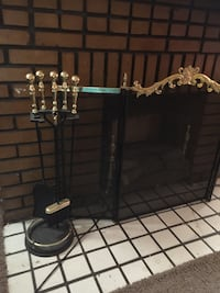 Black mesh metal fireplace rail with rods