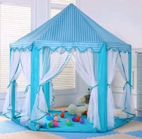 Blue castle tent with star lights