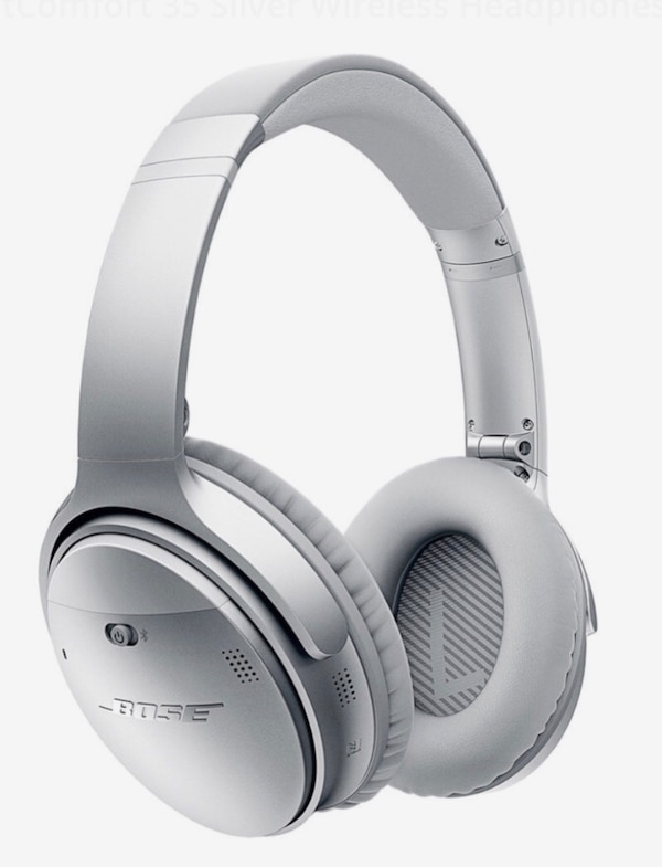 white and gray Bose wireless headphones