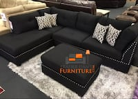 Brand new black linen sectional with ottoman Silver Spring, 20902