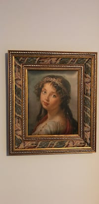 Young  lady  in white dress .Silk with brown fabric /wooden frame