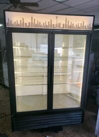 Commercial double glass door display refrigerator cooler merchandiser