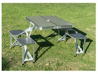 Aluminum Portable Folding Camping Picnic Table Wit