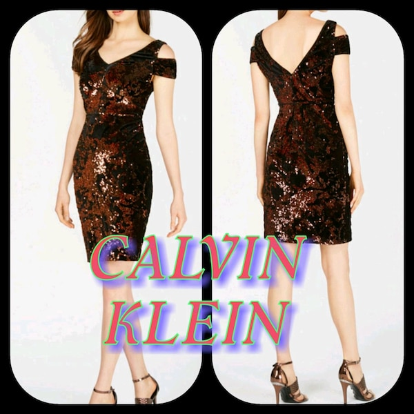 Ck Sequined Cocktail Dress