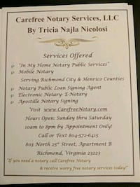 NOTARY PUBLIC AND ELECTRONIC NOTARY AVAILABLE  Richmond, 23223