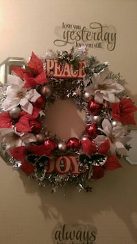 red, white, and gray Peace and Joy poinsettia wreath