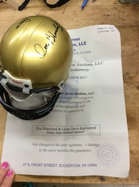 Doc Blanchard and Glenn Davis dual signed Army mini football helmet . Collectible. With COA.